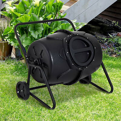 Outsunny Heavy Duty Gardening Metal Lightweight Compost Tumbler BlackΦ26""