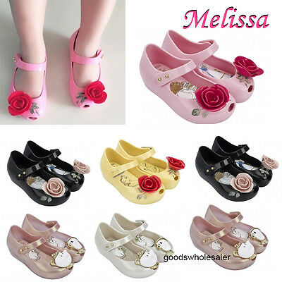 Melissa Beauty and the beast Jelly Shoes Sandals Girls Kids Princess rose shoes