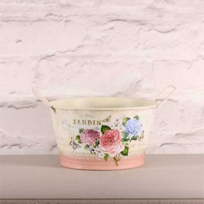 Metal/Zinc Jug And Bowl With Rose & Hydrangea Pattern Vintage, Shabby Chic.