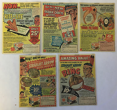 1950s Nabisco Shredded Wheat STRAIGHT ARROW premiums ad collection~ LOT of 5 ads