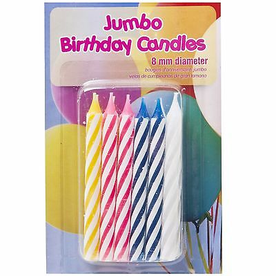 12 x 8cm Assorted Colour Birthday Party Candles Celebration Occasions Fun