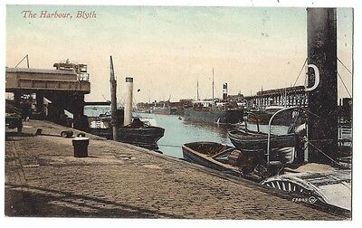 BLYTH The Harbour, Old Postcard by Valentine, Unused