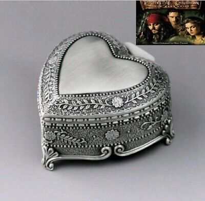 High Quality Tin Alloy Heart Shape Music Box : Pirates Of Caribbean Davy Jones