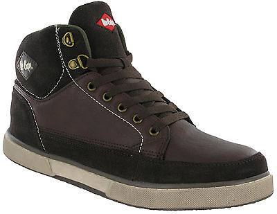 Lee Cooper Safety Hi-tops Leather Boots Ankle Trainers Brown Lace Up Mens LC-086