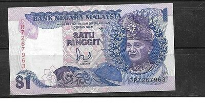 MALAYSIA #27b 1989 VF CIRC RINGGIT OLD BANKNOTE PAPER MONEY CURRENCY BILL NOTE