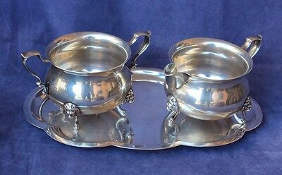 Poole Sterling Silver - Creamer Sugar and Tray - No Mono, 476g Not Weighted