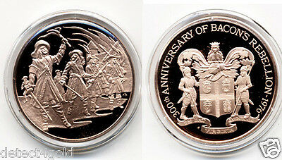 Nathaniel Bacon's Rebellion 1676-1976 Commemorative Proof Bronze Coin Medal