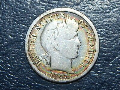 1907 D Barber Dime Nice Toned Coin  (584)