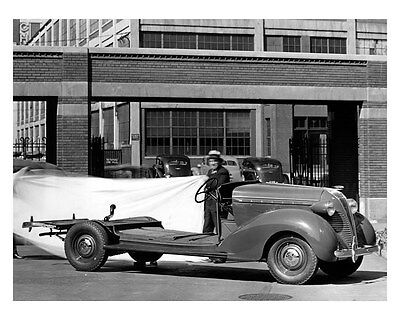 1937 Hudson Terraplane Car & Chassis ORIGINAL Linen-Backed Factory Photo oub3111