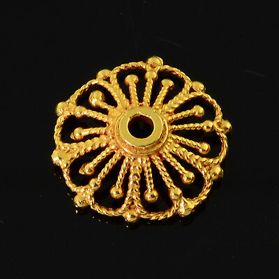 14.5mm 18k Solid Yellow Gold Fancy Large Floral Filigree Bead Cap Finding (1)