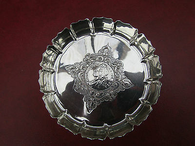 Antique Hm SILVER Patterned DISH  Set GEORGE II 1758 Silver 1/- Coin  VGC