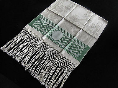 "3 Antique Linen Damask Show Bath Towels 20"" x 58"" with  9"" Fringes Never Used"