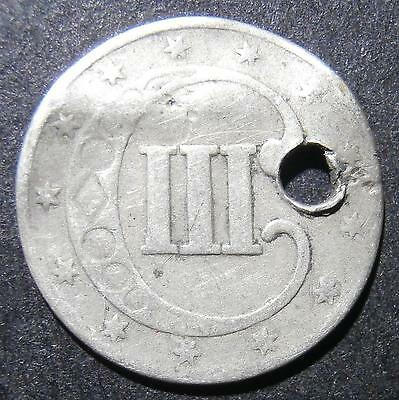 USA - 3 cents 18?? - possibly 1853 but very worn with crease & pierced