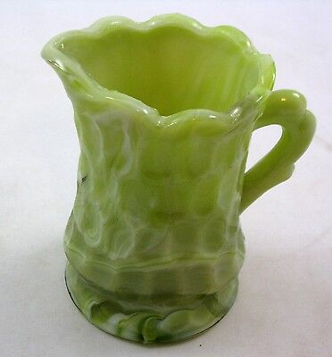 """Green Marbled Slag Glass 3 3/8"""" Small Pitcher, Syrup or Creamer Kanawha"""