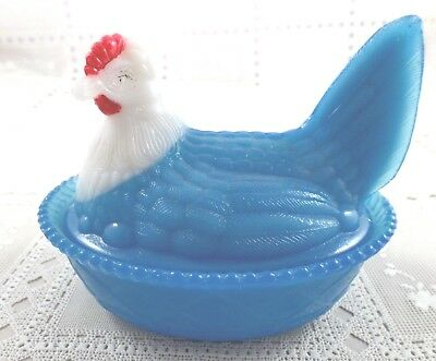 "Glass Hen on Nest Covered Dish WSC  5"" Neck Curls Milk White/Blue Chicken #D"