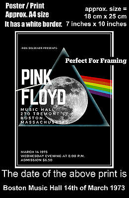 Pink Floyd live concert Boston Music Hall 14th March 1973 A4 size poster print