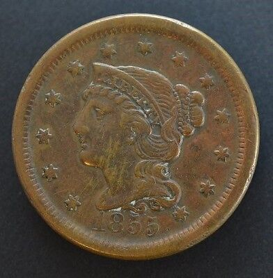 1855 Braided Hair Large Cent XF Details