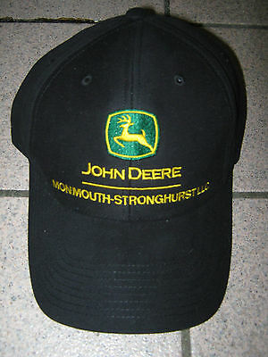 Black John Deere baseball hat with green logo and yellow lettering, New!
