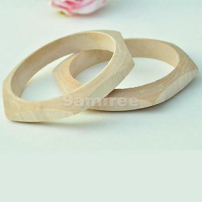 Wood Craft Geometric Faceted Unfinished Natural Cuff Bracelet Bangle DIY Hot