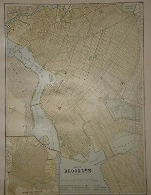 Vintage 1888 Brooklyn Map ~ Old Antique Atlas Map Free S&h 1888/032117
