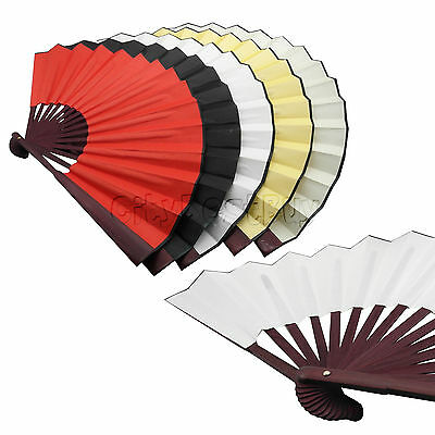 Chinese Vintage Hand Held Folding Fan Silk Blank DIY Calligraphy Painting Draw