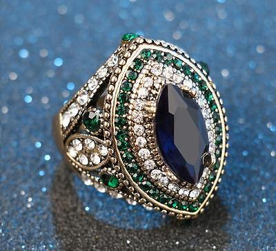 Retro Crystal Ring Silver Plated Colorful Rhinestone Ring Women Lady Gift