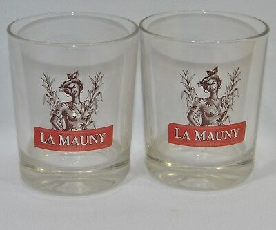 LA MAUNY RHUM MARTINIQUE 2 Verres tumbler bas punch cocktail NEUF