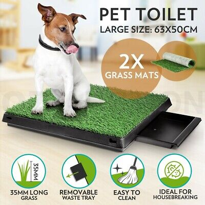 New Indoor Dog Pet Potty Training Toilet Large Loo Pad Tray with 2 Grass Mat