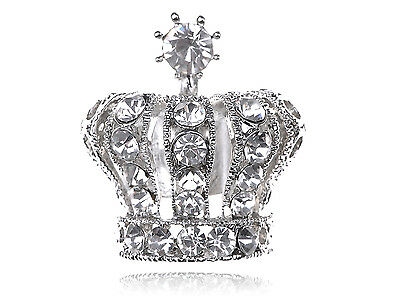 Silver Royal King Queen Imperial Heraldic Crystal Rhinestone Majestic Crown Ring