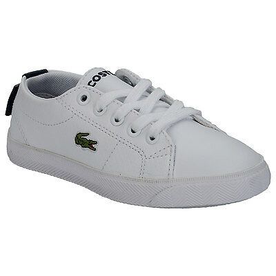 Children Lacoste Boys Marcel Trainers In White Blue- Low Top- Lace Fastening -