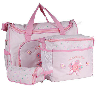 4pcs Pink Multi Function Mummy Bags Baby nappy changing bag diaper bags large