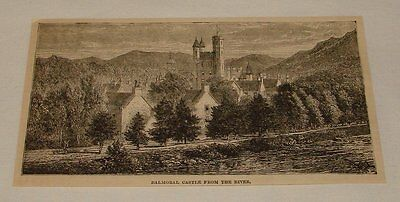 1883 magazine engraving ~ BALMORAL CASTLE FROM THE RIVER
