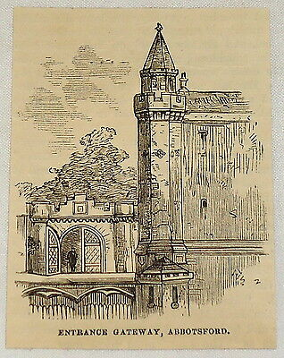 small 1881 magazine engraving ~ENTRANCE at ABBOTSFORD~ home of SIR WALTER SCOTT