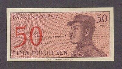 1964 50 Sen Indonesia Currency Gem Unc Banknote Note Money Bank Bill Cash Asia