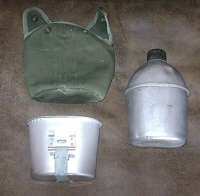 WWII US Army Original Canteen WW2 1944 With Later Cup & Cover Vintage
