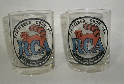 2 TWO - RCA / REGISTERED COON ASS - COCTAIL GLASSES - copyright 1971 - Coonass