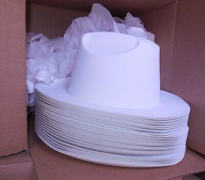 NEW/box 2 DOZEN Dance COSTUME Plastic White Cowboy Hats child size velourfinish