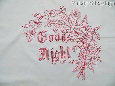 Fancy Antique Good Night Redwork Victorian Pillow Cover c1900