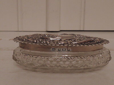 Antique English Repousse Sterling Silver Lid & Star Cut Glass Ladies Vanity Jar