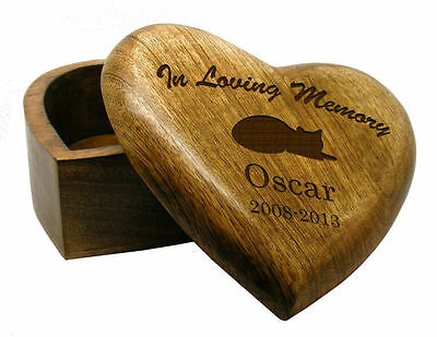 In Loving Memory Heart Wooden Cat Pet Urn Cremation Ashes Pet Box Personalised