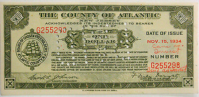 Tax Note - County of Atlantic New Jersey, One Dollar, Nov. 15, 1934