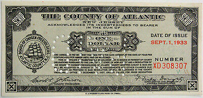 Tax Note - County of Atlantic New Jersey, One Dollar, Sept. 1, 1933