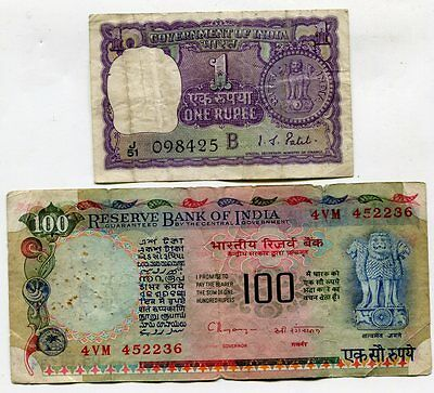 India 1 Rupee & 100 Rupees, Pick #s 77d & 86f, Circulated