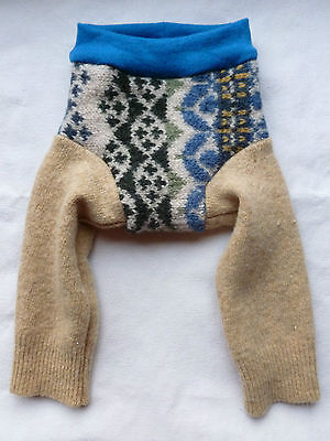 wool longies longie *NEW* thick diaper cover soaker pants beige teal M