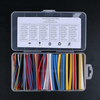170pcs 100mm 2:1 ratio 6 Size Heat Shrink Tubing Sleeving Wrap Wire Cable
