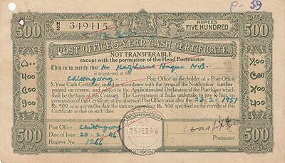 India Post Office 500R 5 Year Cash Certificate 1936 Issue Chittagong