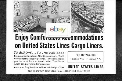 United States Lines 1968 Enjoy Comfortable Accommodations On Our Cargo Liners Ad