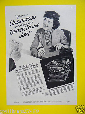 1938 Give Me An Underwood And I'll Give You A Better Typing Job!  Typewriter Ad