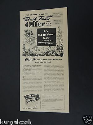 """1943 """"double-Treat"""" Offer From Maca Yeast (Coupon) Vintage Art Ad"""