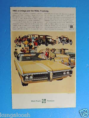 1968:a Vintage Year For Wide-Tracking. Pontiac Bonneville Photo Art Ad